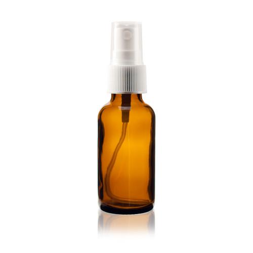 Boston Round Glass Bottle 1 oz Amber - w/White Fine Mist Sprayer