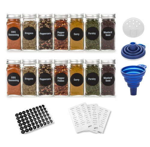 Premium Vials, 4oz, BEST VALUE 14 Glass Spice Jars includes pre-printed Spice Labels. 14 Square Empty Jars, Airtight Cap, Chalkboard & Clear Label, kitchen Funnel Pour/Sift Shakers
