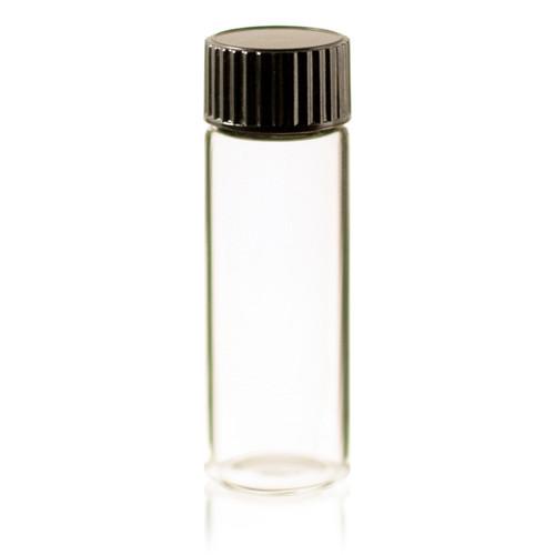 1 Dram Clear Glass Vial - w/Orifice Reducer & Black Cap