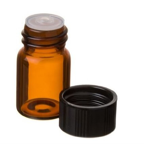 5/8 Dram Amber Glass Vial - w/Orifice Reducer & Black Cap