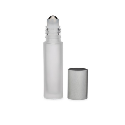 2.7 Dram (10 ml) Frosted Glass Vial with Stainless Steel Roller Ball & Silver PP Cap