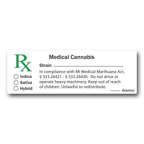 Medical Labels - Michigan Compliant - 1000 Count