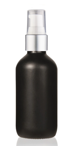 2 Oz Matt Black Glass Bottle w/ Matte silver and White Treatment Pump