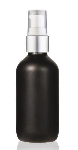 2 Oz Matt Black Glass Bottle w/ Matte silver and White Treatment Pump