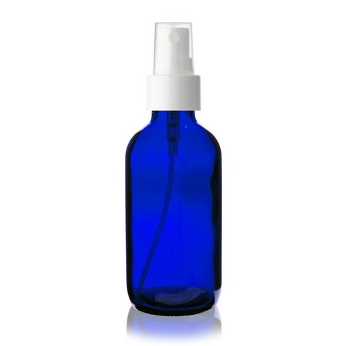 4 oz Cobalt BLUE Glass Bottle w/ Smooth White Fine Mist Sprayer