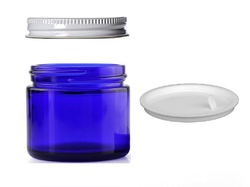 1 oz Cobalt BLUE GLASS Jar Straight Sided w/ White Metal Screw Lids with inner White Gasket for jar- pack of 12