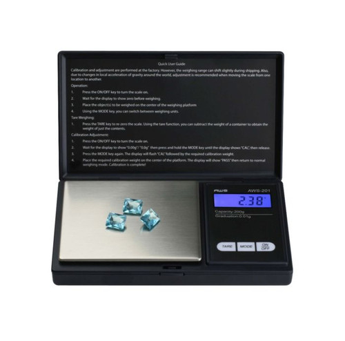 American Weigh Scale AWS Series Precision Digital Pocket Weight Scale, Black, 200G x 0.01G