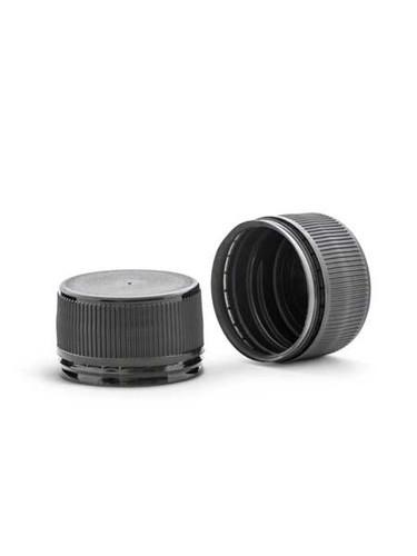 28mm Black Polypropylene Linerless Tamper-Evident Cap - pack of 24