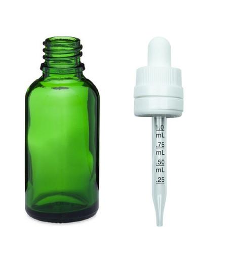 1 oz Green Glass Euro Dropper Bottles w/ 18-415 White Temper Evident CRC Calibrated Dropper- Case of 330