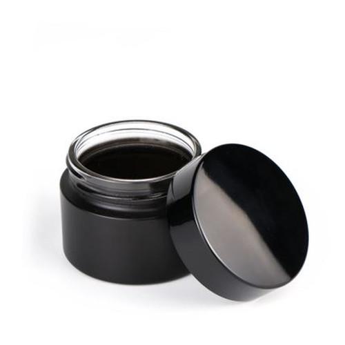50g Matt Black Glass Cream Jar with White Insert and Black Lid - pack of 24