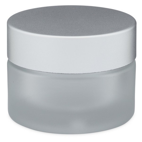 2 oz Glass Frosted Cream Jar with White Insert and Matte Silver Lid - pack of 24