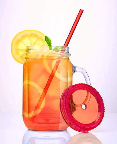 Plastic Mason Jars with Handles, Lids and Straws, 20 oz Double Insulated Tumbler with Straw | Set of 3 | Wide Mouth Mason Jar Mugs | Cups for Kids and Adults