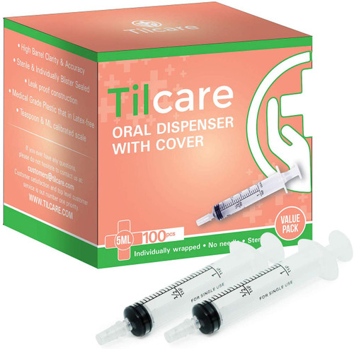 5ml Oral Dispenser Syringe with Cover 100 Pack by Tilcare - Sterile Plastic Medicine Droppers for Children, Pets & Adults  Latex-Free Medication Syringe Without Needle