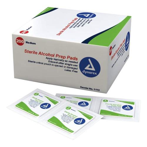 Dynarex Latex Free Sterile Disposable Alcohol Preparation 600 Pads - Medium