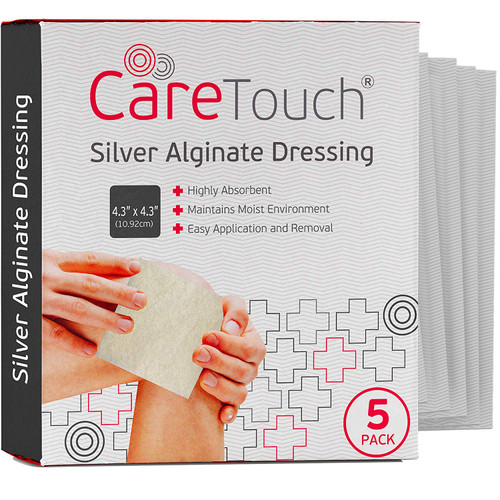 "Care Touch Silver Alginate Wound Dressing - Antibacterial Alginate with Silver - 5 Individually Wrapped Sterile Dressings, 4.3""x4.3"""