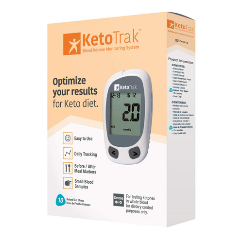 KetoTrak Blood Ketone Testing Kit, 1 Meter, 10 Ketone Strips, 1 Lancing Device, 10 Lancets, Optimize Your Result for Keto Diet by KetoTrak