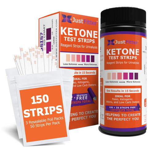 Ketone Keto Urine 150 Test Strips. 3 Resealable Foil Packs of 50 Strips Each. Look & Feel Fabulous on a Low Carb Ketogenic or HCG Diet. Accurately Measure Your Fat Burning Ketosis Levels