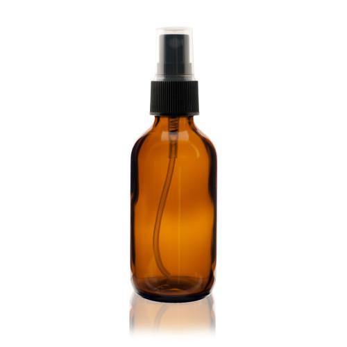 Boston Round Glass Bottle 2 oz Amber - w/ Black Fine Mist Sprayer
