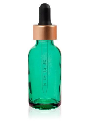 1 Oz Caribbean Green Glass Bottle w/ Black-Rose Gold Calibrated Glass Dropper
