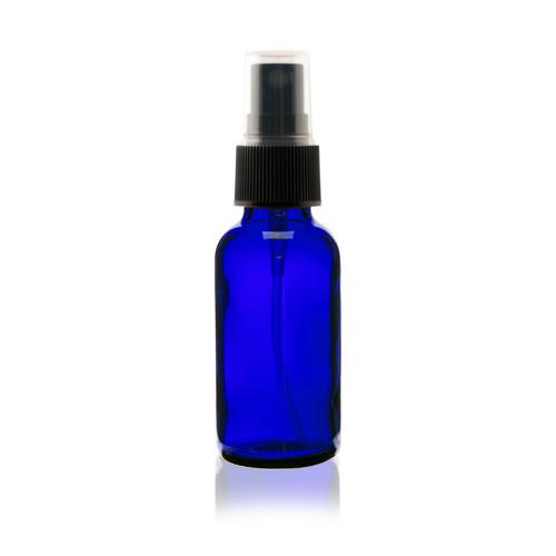 Boston Round Glass Bottle 1 oz Cobalt Blue - w/ Black Fine Mist Sprayer