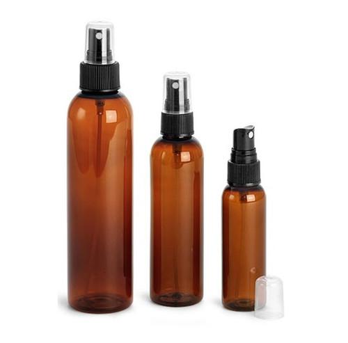4 oz AMBER Plastic PET Cosmo Bullet Bottle w/ Black Fine Mist Sprayer Set of 48