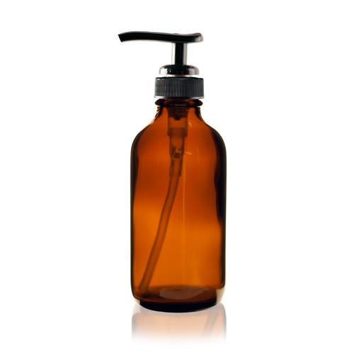 4 oz Amber Boston Round Glass Bottle - w/ Black Pump
