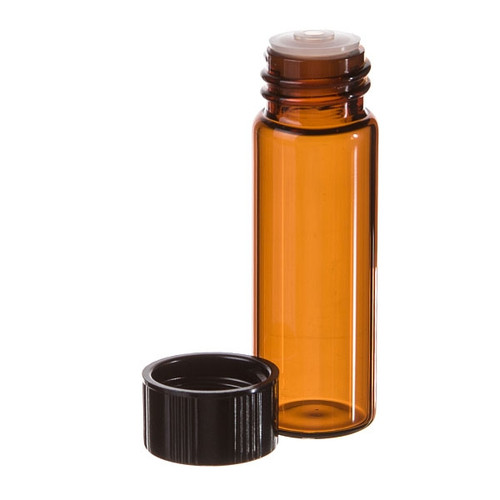 1 Dram Amber Glass Vial - w/Orifice Reducer & Black Cap