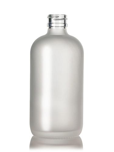 8 Oz Frosted Glass Bottle 24-400  w/ Ribbed 24-410 White Fine Mist Sprayer - Case of 72