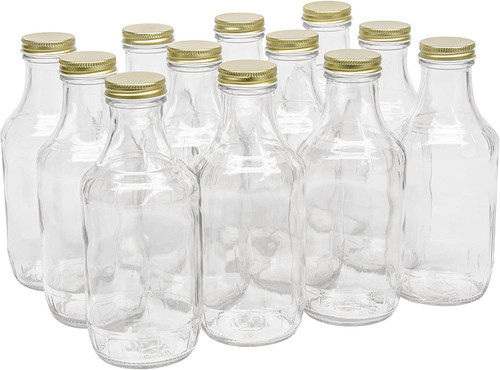 16 oz clear glass sauce bottle with 38-400 neck finish - Case of 60 (With Gold Lids)