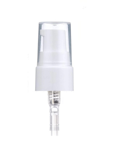 24-410 White PP smooth skirt dispensing treatment pump with 7.5 inch dip tube and clear plastic overcap (0.2 cc output)