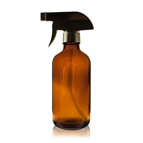 8 oz Boston Round Glass Bottle Amber - w/ Sprayer