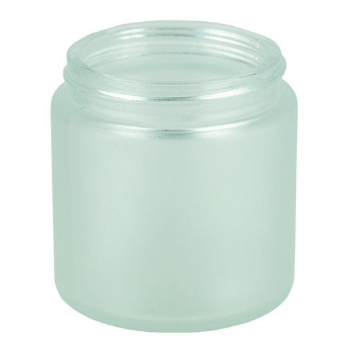 4 oz Glass Frosted Cream Jar 58-400 with White  Lids - Case of 120