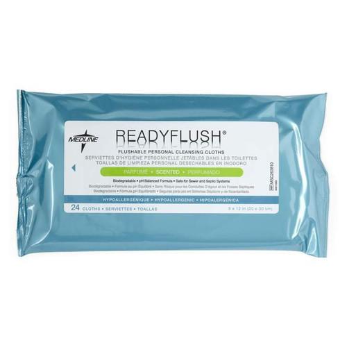 Medline ReadyFlush Biodegradable Flushable Wipes - Soft Packs of 24 Wipes -  Case of 24