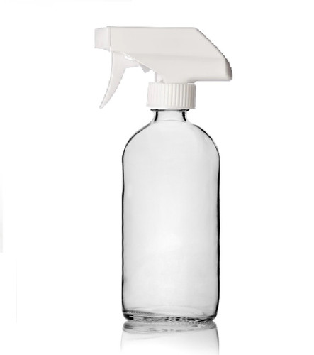 16 oz CLEAR glass bottle with 28-400 neck finish w/ White Trigger Sprayer