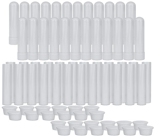 50 Pcs, White Essential Oil Aromatherapy Blank Nasal Inhaler Tubes(Including 50 unscented Wicks +3 Polyethylene Pipette Droppers)