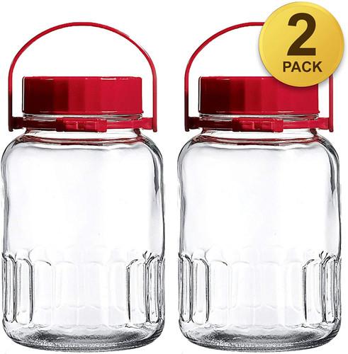 1 Gallon Glass Jar Wide Mouth Airtight Plastic Pour Spout Lid 4L Bulk-Dry Food Storage BPA Free Dishwasher Safe Mason Jar Canister Jug Fermenting Sun Tea Kombucha Kefir Water Storing Canning 2 Pack