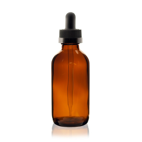 4 oz AMBER Boston Round Glass Bottle w/ Black Child Resistant Dropper