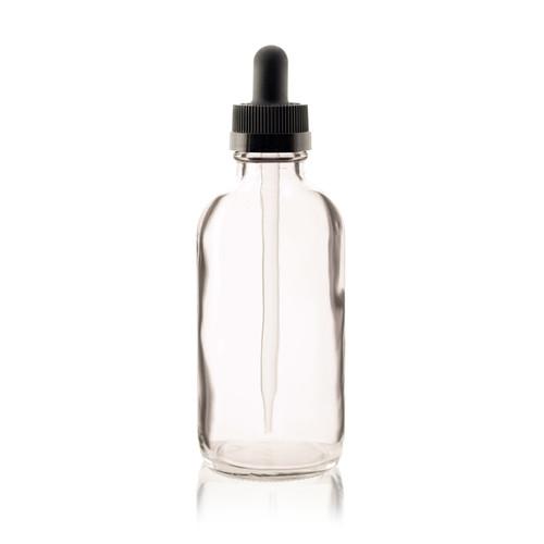 4 oz CLEAR Boston Round Glass Bottle - w/ Black Child Resistant Dropper