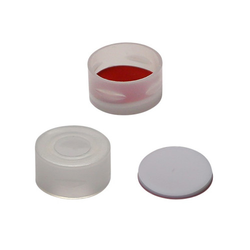 Screw Top 24mm White Plastic Vial Cap with Natural PTFE/Natural Silicone Septa - Pack of 200