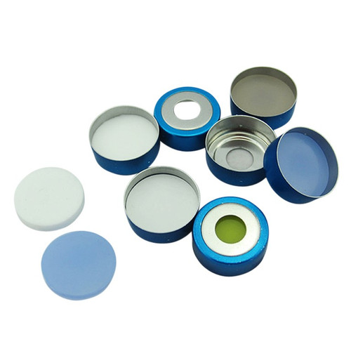 Crimp Top 20mm Silver Aluminum Vial Cap with White PTFE/Blue Silicone Septa - Pack of 200