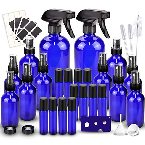 Glass Spray Bottles Kits, Empty 12 10 ml Roller Bottles, 12 Amber Essential Oil Bottle(216oz,24oz,82oz) with Labels for Aromatherapy Cleaning Products