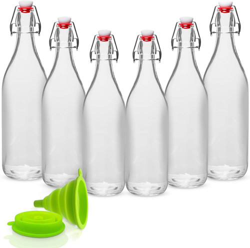 Giara Glass Bottle with Stopper Caps, Set of 6-33.75 Oz Swing Top Glass Bottles for Beverages, Oils, Kombucha, Kefir, Vinegar, Leak Proof Lids