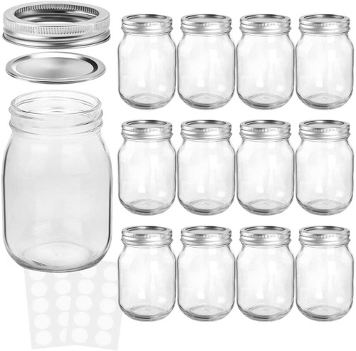 20 PACK -Mason Jars 16 oz With Regular Lids and Bands, Ideal for Jam, Honey, Wedding Favors, Shower Favors, Baby Foods, DIY Magnetic Spice Jars, 12 PACK, 20 Whiteboard Labels Included