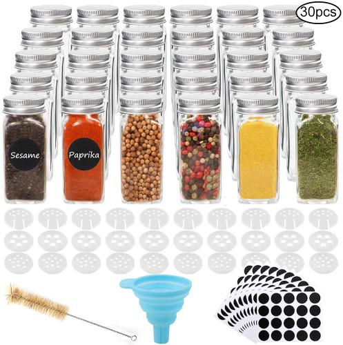 30pcs 4oz Glass Spice Jars Square Glass Bottles with 30pcs Shaker Lids