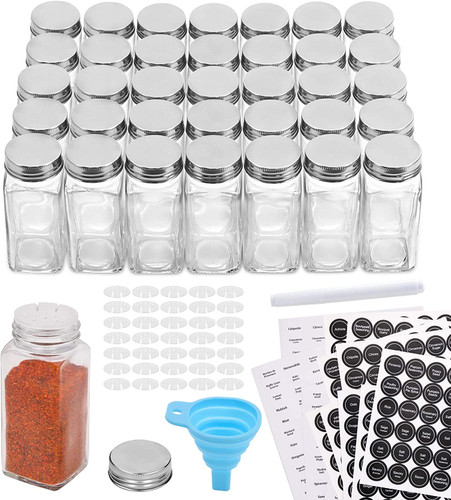 36 Pcs Glass Spice Jars with 810 Spice Labels - 4oz Empty Square Spice Bottles - Shaker Lids and Airtight Metal Caps - Chalk Marker and Silicone Collapsible Funnel Included