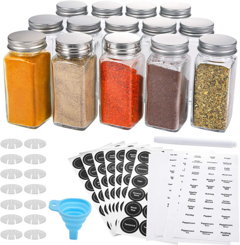 14 Pcs Glass Spice Jars with Spice Labels - 4oz Empty Square Spice Bottles - Shaker Lids and Airtight Metal Caps - Chalk Marker and Silicone Collapsible Funnel Included