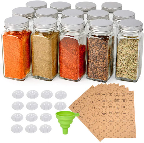 14 Pcs Glass Spice Jars, 4oz Empty Square Spice Bottles with Shaker Lids and Airtight Metal Caps - 350 Spice Labels and Silicone Collapsible Funnel