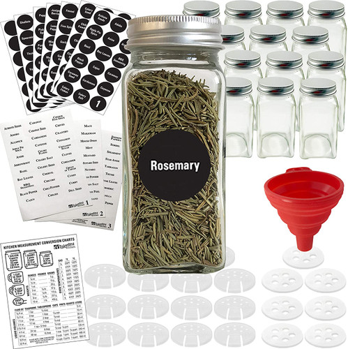14 Glass Spice Jars w/2 Types of Preprinted Spice Labels. Commercial Grade, Complete Set: 14 Square Empty Jars 4oz, Pour/Sift & Coarse Shakers, Airtight Cap, Chalkboard & Clear Labels
