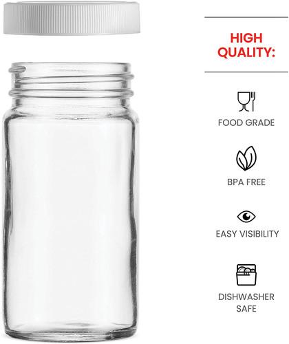 Full-Width Mouth,BPA Free Plastic Airtight Lid Small Glass Mason Jars 4Oz Mini