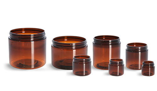 16 oz amber PET plastic single wall jar with 89-400 neck finish- Case of 245